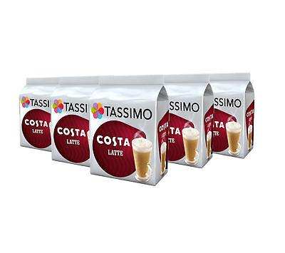 TASSIMO Costa Latte Coffee Capsules Refills Pods T-Discs Pack of 5, 40 Drinks