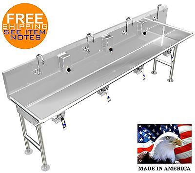 Multi User 4 Station Hand Wash Sink 84 With Knee Valves 4 Legs Made In America
