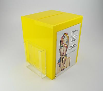 Suggestion Box / Collection Box with Leaflet + Poster Holder PDS9470A4 Yellow