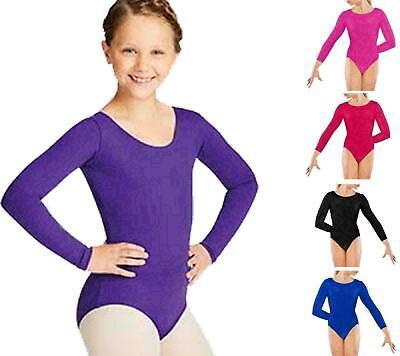Girls Kids Dance Gymnastic Leotard Long Sleeve Round Neck Bodysuit Top Childrens