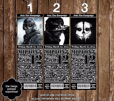 Call of Duty Ghost Birthday Party Ticket Invitations - 20 Printed W/envelopes (Call Of Duty Birthday Party)
