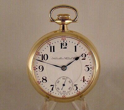 """120 YEARS OLD HAMILTON """"940"""" 21j 10k GOLD FILLED OPEN FACE 18s RR POCKET WATCH"""