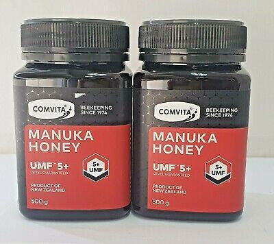 Comvita Manuka Honey UMF 5+ (500gm x 2) - BB-16/12/21 FREE POST Save $85.95 ...