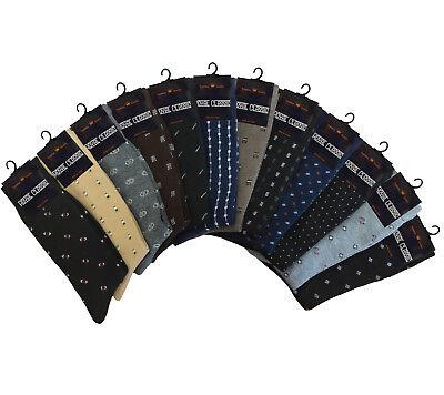 SET OF 12 DIFFERENT FASHION PATTERN COTTON DRESS SOCKS MULTI COLORS FOR MEN