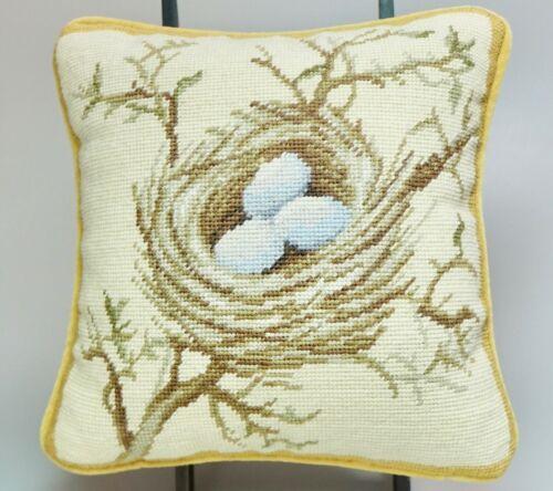 """Katha Diddel Wool Needlepoint Mini Pillow Bird Nest Yellow Velvet Back 8"""""""