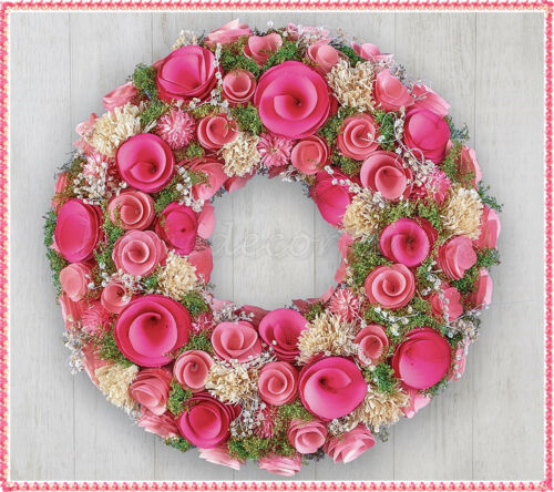 Bright Spring Wood Curl Wreath Pink Flowers Floral Greenery Door Wall Decor 13""
