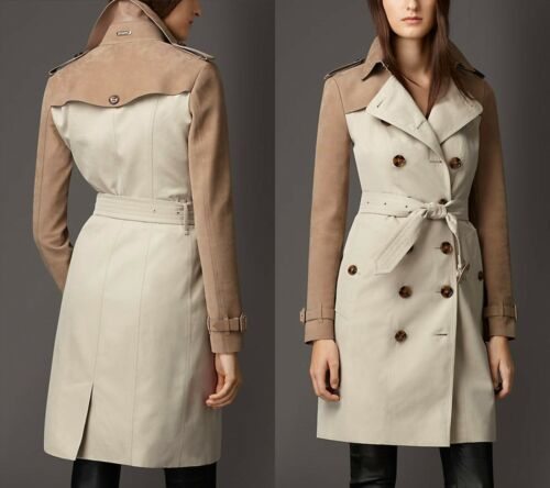 $3,795 Burberry London Sz 12 14 46 Stone Suede Panel Gabardine Trench Coat Women