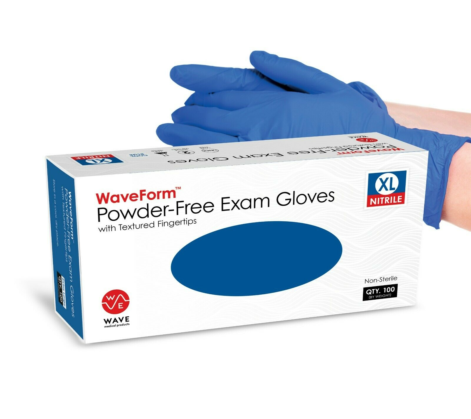 WaveForm 4 Mil Premium Blue Medical Nitrile Exam Latex Free