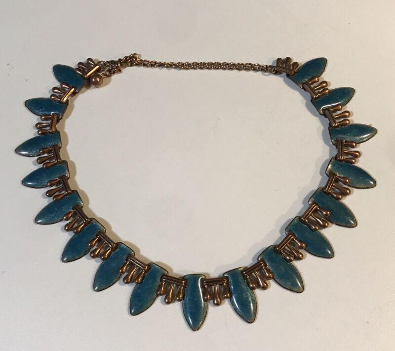 Beautiful Vintage Renoir Green Copper Modernist Enamel Collar Necklace
