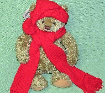 Hallmark MARY Teddy Bear RED Scarf & Hat Tan Plush Stuffed Animal Original Tag