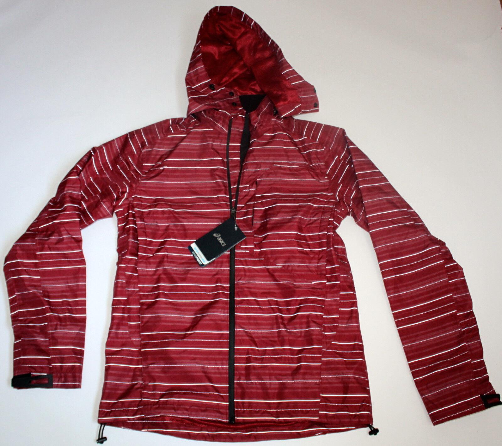 ASICS Men's Small Burgundy Red Jacket Striped Hooded Rain Co