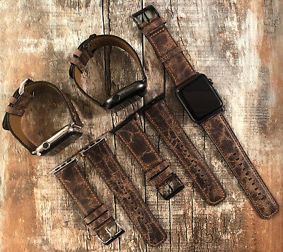 (For Apple Watch Series 4 3 2 1 Brown Rustic Replacement Leather Watch Strap Band)