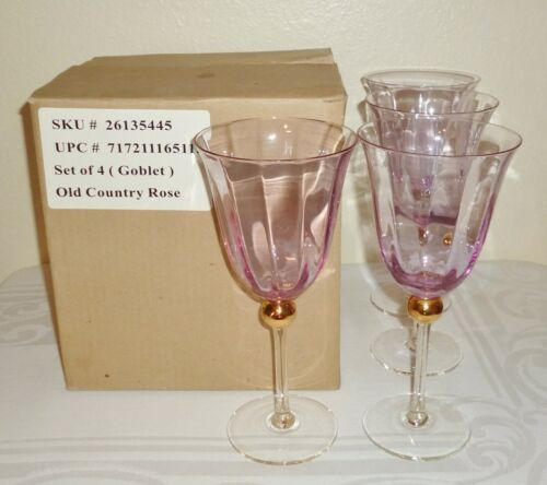 4  Royal Albert OLD COUNTRY ROSES FORMAL Pink Water Goblets Wine Glasses NOS Box
