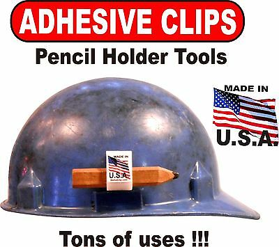 Hard Hat Pencil Clip Holders 10 White Adhesive Carpenter Construction Clipboards