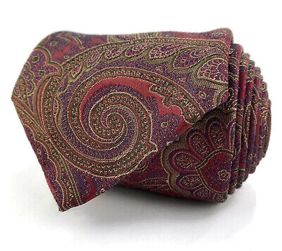 Brioni Mens Luxury Necktie Tie 100% Silk Maroon Red Paisley 3 5/8W 59L