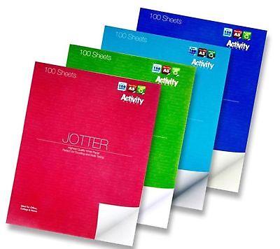 A5 Jotter Plain White Paper Pad Doodle Draw Colour Notebook 100 Activity Sheets