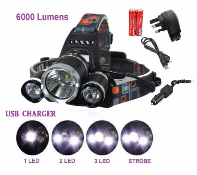 6000 Lm Lumens 3x XM-L CREE T6 LED Rechargeable Head Torch Headlamp Lamp Light
