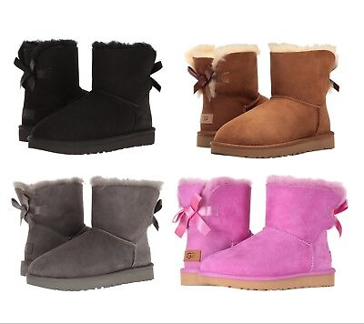 - NEW Authentic UGG Women's Bailey Bow Winter Boots Shoes Black Chestnut Pink Grey