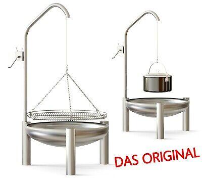 Grill Schwenkgrill Edelstahl V2A flach ø 60 cm Grillrost mit Reling + Kurbel