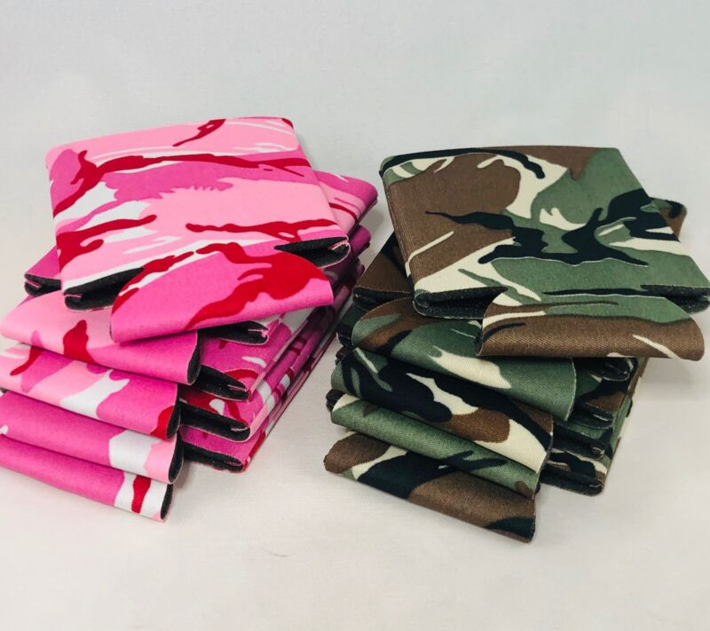 KooZies Lot 10 CAMO Can Cooler Coozie CAMOUFLAGE 5 Pink Camo 5 Green Camo