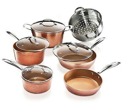 Hammered Copper Cookware (Gotham Steel 10 Piece Hammered Nonstick Copper Cookware Set - AS Seen on TV!)