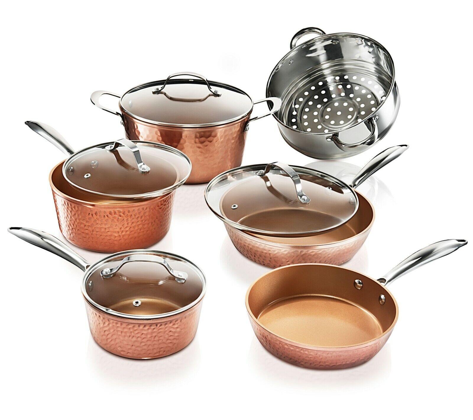 Gotham Steel 10 Piece Hammered Nonstick Copper Cookware Set - AS Seen on TV! NEW