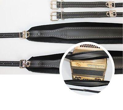 Genuine Leather Shoulder Straps for Accordion, Akkordeongurte, 8 cm, 60- 120 bas