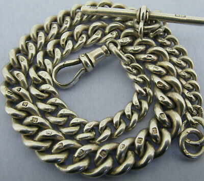Antique Solid Sterling Silver Albert Pocket Watch Chain & T-Bar Chester 1919