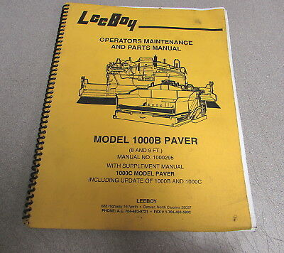 Leeboy 1000b Paver Operators Maintenance Parts Manual