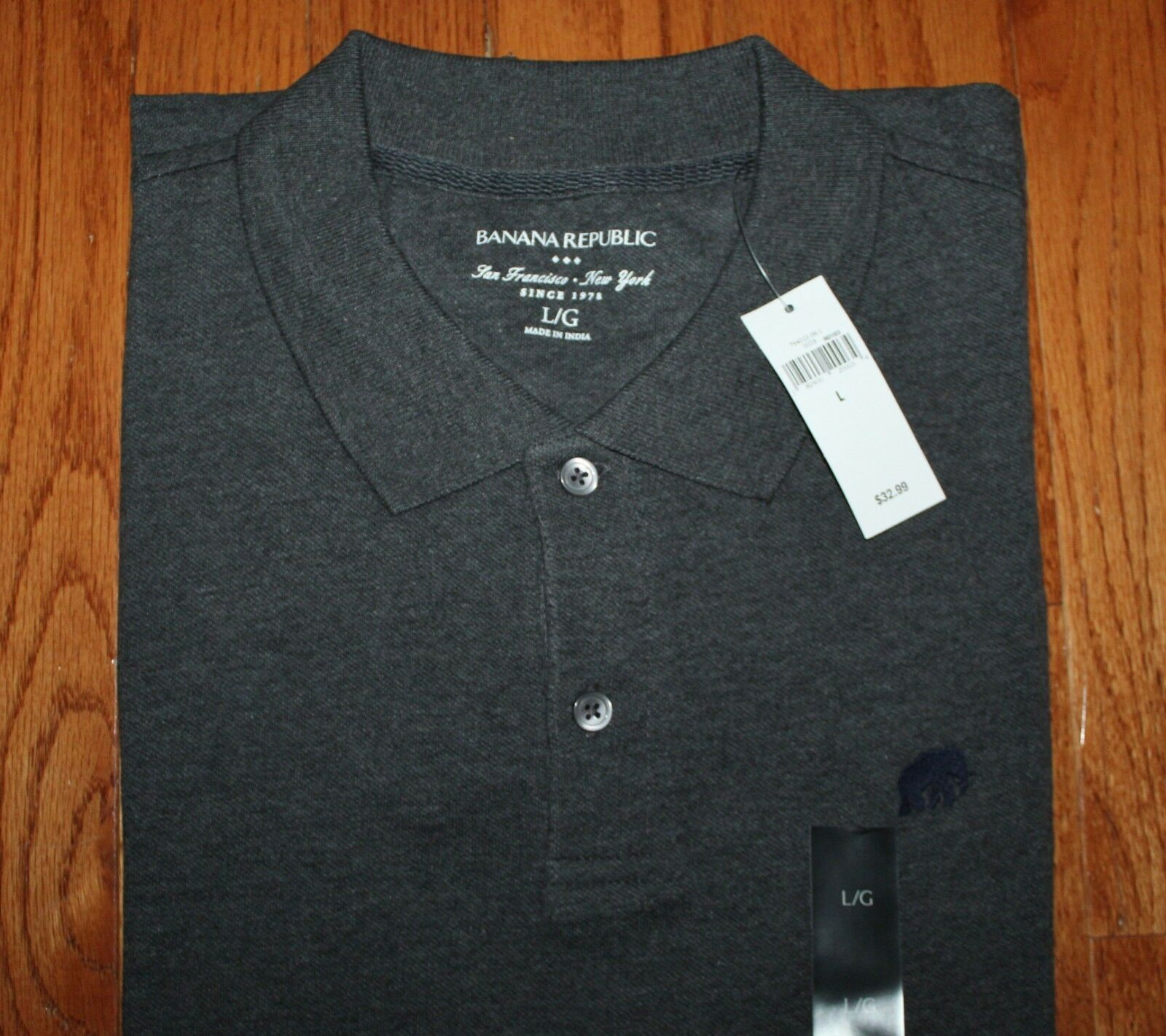 1d8c28143 NWT NEW Mens Banana Republic Pique Polo Shirt Elephant Logo Choice of 16  Colors Charcoal Heather