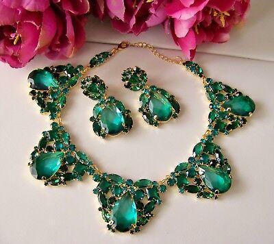 Stunning Czech Juliana Style Silver Emerald Green Rhinestone Glass Necklace Set