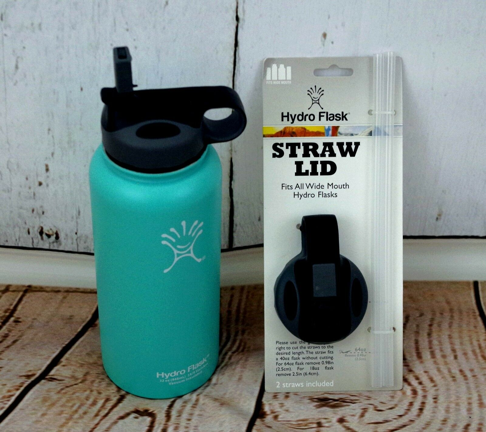 Water Bottle Straw Lid - Fits all Wide-Mouth Hydro Flasks Grey/Black
