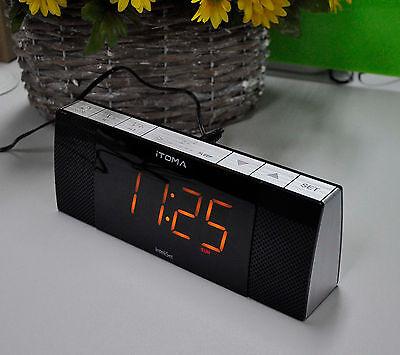 iTOMA 503 Radio Alarm Clock FM Bluetooth Speaker, Auto Time Set, Phone Charging