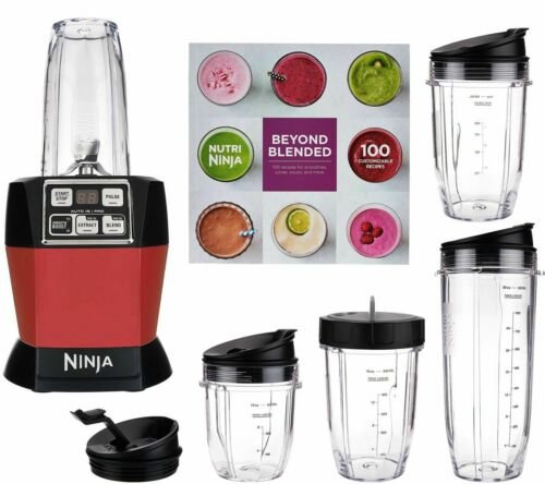 Nutri Ninja Auto iQ Pro Complete Blender Red with 5 To Go Cups & 4 Lids | BL487,