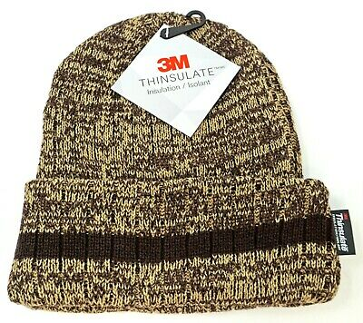 Cuff Beanie Skull Cap Winter Hat Fleece Lining Adult OSFM Brown Stripe NWT Fleece Cuff Cap