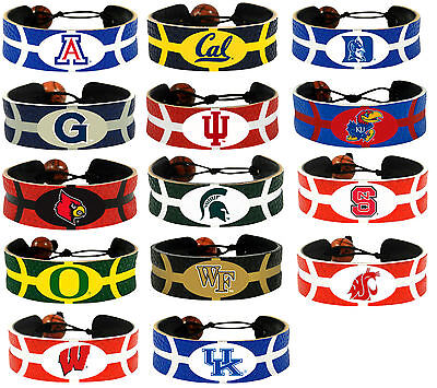 leather basketball bracelet NCAA PICK YOUR TEAM gamewear team color Basketball Gamewear Bracelet