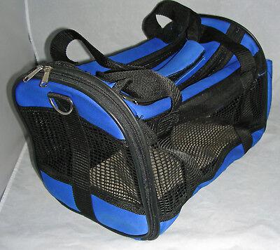 Mesh/neoprene type material - Cat/ Kitten / Dog/ Small Animal Blue Pet Carrier -