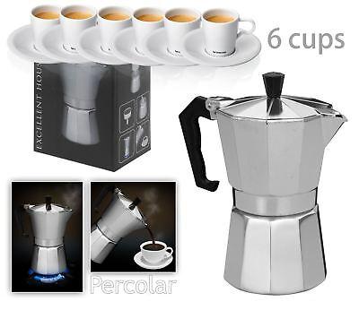New Italian Espresso Latte Cafetiere Coffee Maker for 6 Cup Cups Percolator
