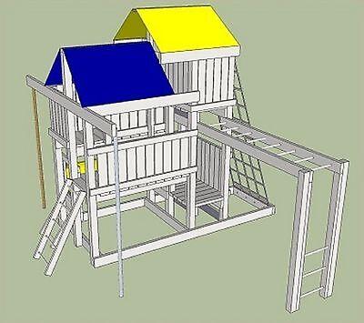 Detailed Plans (Blue Prints) To Build Kids Play Set Slide Playhouse (Swing set)