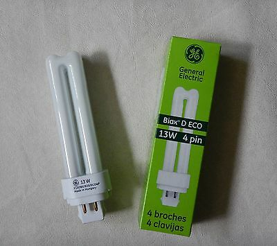 New General Electric Biax D Eco 13W 4 Pin Compact Fluorescent Light Bulb