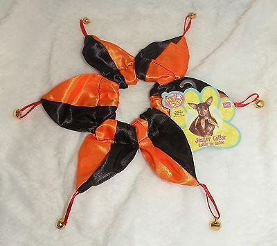 NWT Rubies Pet Shop Boutique Halloween Orange & Black Jester Collar, Size M/L ](Jesters Costume Shop)