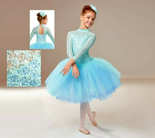 Curtain Call Tint of Spring Blue Tutu Ballet Tulle Ballerina Sequins LC L Large