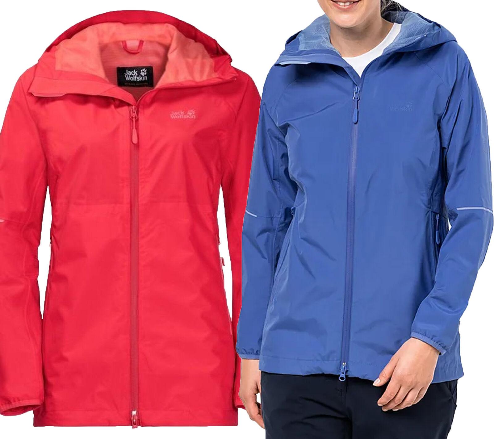 Jack Wolfskin Wetterschutz-Jacke Damen Wanderjacke Sierra Pass Trekking Blau Rot