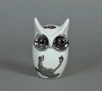 Deko Eule aus Porzellan ca. 8 cm weiß/silber Dekoration