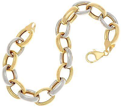 QVC Polished Shiny Oval Rolo Link Bracelet Real 14K Yellow White Two-Tone Gold 14k Two Tone Gold Bracelet