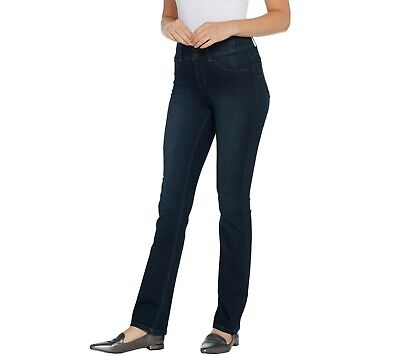 Laurie Felt Women's Regular Curve Silky Denim Straight Leg Jeans Small Size QVC Curved Pocket Jeans
