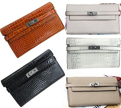 Real Leather Clutch Bag Long Fold Wallet Multi Compartment Designer Purse Travel - Travel Wallet Clutch