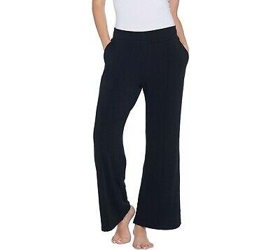 AnyBody Loungewear Women's Petite Plush Terry Wide Leg Pants Black P2X Size QVC Black Terry Wide Leg Pant