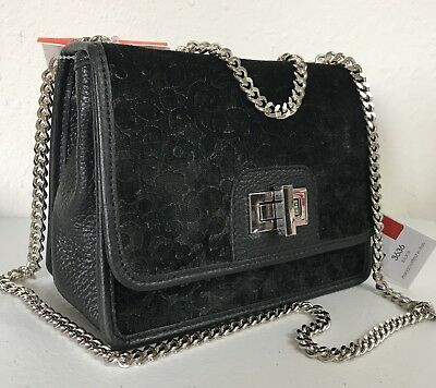 ALMA TONUTTI New Flap Shoulder Bag Black Leather Embossed Velvet Made In  Italy 3dec2aafcd42f