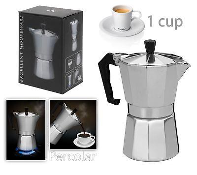 New Italian Espresso Latte Cafetiere Coffee Maker for 1 Cup Percolator